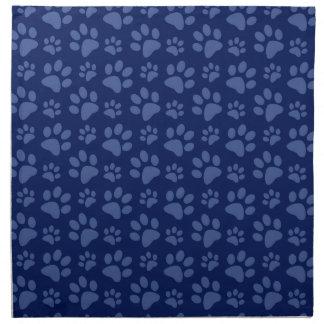 Navy blue dog paw print pattern napkin