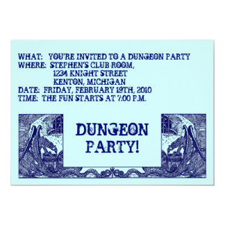 NAVY BLUE DRAGONS IN DUNGEONS ~ PARTY INVITATION! CARD
