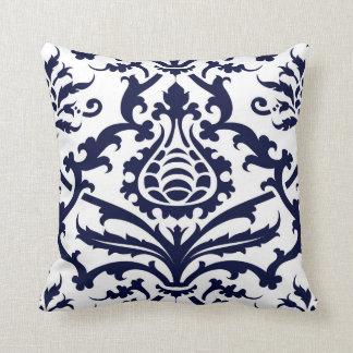 Navy blue Floral Damask Pattern Pillows