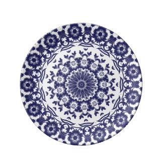 Navy Blue Flower BoHo Mandala Plate