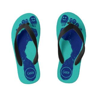 Navy Blue Footprints Smiley-Toes™ Cool Aqua Blue Thongs
