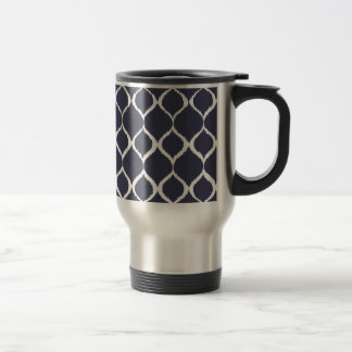 Navy Blue Geometric Ikat Tribal Print Pattern Mug