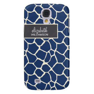 Navy Blue Giraffe Pern Galaxy S4 Case