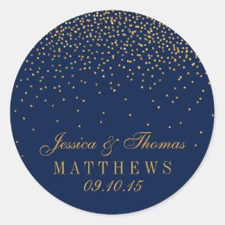 Navy Blue & Glam Gold Confetti Wedding Favour Round Sticker