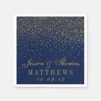Navy Blue & Glam Gold Confetti Wedding Paper Serviettes