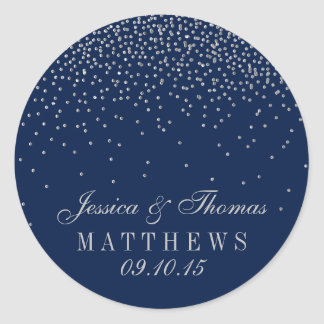 Navy Blue & Glam Silver Confetti Wedding Classic Round Sticker