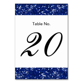 Navy Blue Glitter Printed Table Card