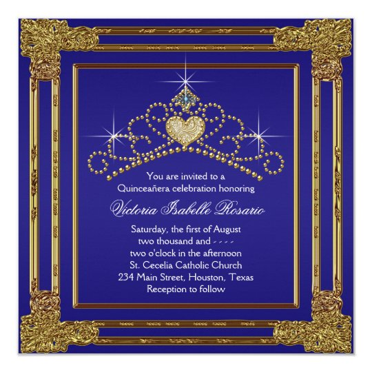 Navy Blue Gold and Tiara Sweet 15 Quinceanera 13 Cm X 13 Cm Square Invitation Card