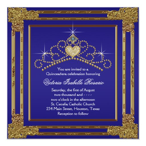 Navy Blue Gold and Tiara Sweet 15 Quinceanera Custom Invitations