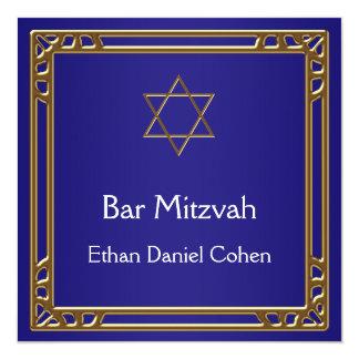 Navy Blue Gold Bar Mitzvah 13 Cm X 13 Cm Square Invitation Card