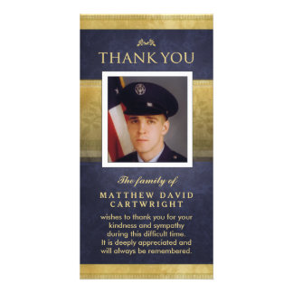 Navy Blue & Gold Elegance Thank You Memorial Card Customized Photo Card