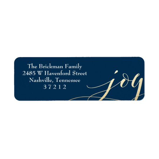 Navy Blue Gold Faux Foil Joy Holiday Address Label