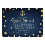 Navy Blue Gold Foil Anchor Nautical Bridal Shower 13 Cm X 18 Cm Invitation Card