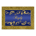 Navy Blue, Gold Scrolled Reply Card Invitations