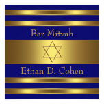Navy Blue Gold Star of David Bar Mitzvah Personalised Invitation