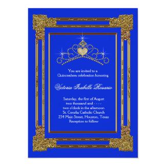 Navy Blue Gold Tiara Sweet 15 Quinceanera Card