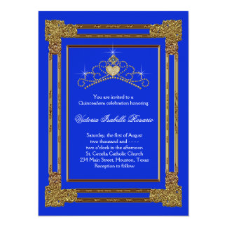 Navy Blue Gold Tiara Sweet 15 Quinceanera 5.5x7.5 Paper Invitation Card