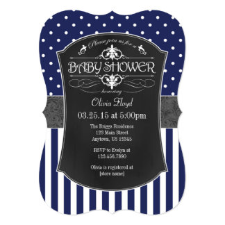Navy Blue Gray Chalkboard Stripes Baby Shower 13 Cm X 18 Cm Invitation Card