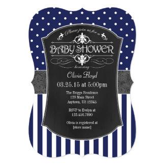 Navy Blue Gray Chalkboard Stripes Baby Shower 13 Cm X 18 Cm Invitation Card