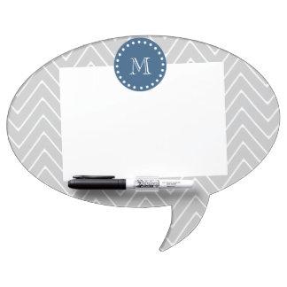 Navy Blue, Gray Chevron Pattern | Your Monogram Dry Erase Board