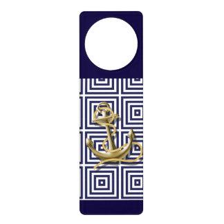 Navy Blue greek pattern preppy nautical Anchor Door Hanger