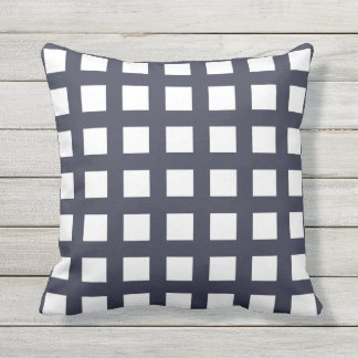 Navy Blue Grid Check Outdoor Pillows