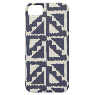Navy Blue Ivory Tribal Print Ikat Triangle Pattern iPhone 5 Cases