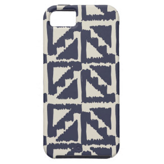 Navy Blue Ivory Tribal Print Ikat Triangle Pattern iPhone 5 Covers