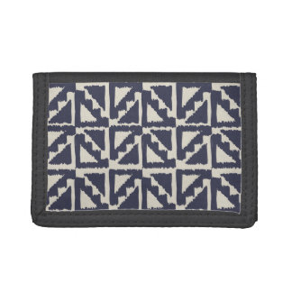 Navy Blue Ivory Tribal Print Ikat Triangle Pattern Tri-fold Wallet