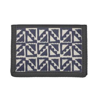 Navy Blue Ivory Tribal Print Ikat Triangle Pattern Trifold Wallets
