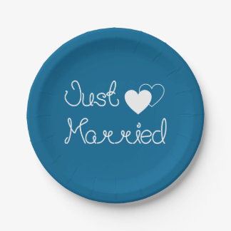 Navy Blue Just Married With White Hearts Wedding 7 Inch Paper Plate