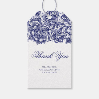 Navy Blue Lace Elegant Wedding Gift Tags