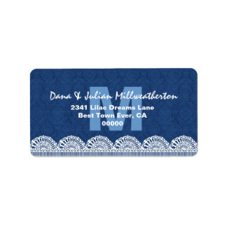 Navy Blue Monogram White Lace Wedding M482M Address Label