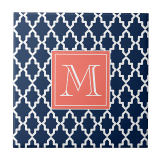 Navy Blue Moroccan Coral Monogram Small Square Tile