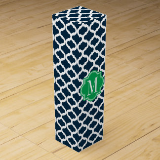 Navy - Navy Blue Moroccan Pattern with Green Monogram Wine Gift Box