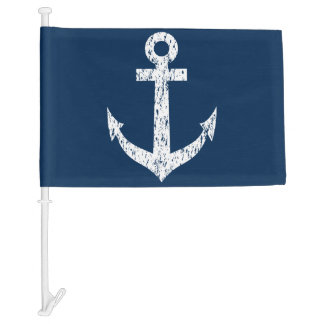 Navy blue nautical anchor car window flag