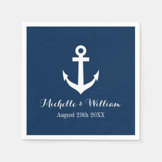 Navy blue nautical anchors aweigh wedding napkins paper napkins
