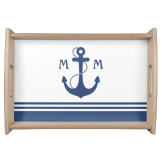 Navy Blue Nautical Monogram Serving Tray