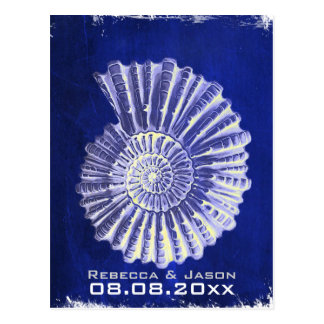 navy blue nautical seashells wedding save the date postcard