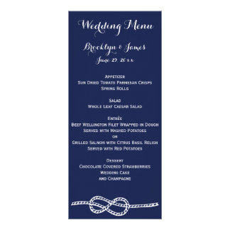 Navy Blue Nautical Wedding Menu Cards Knot Custom Rack Card