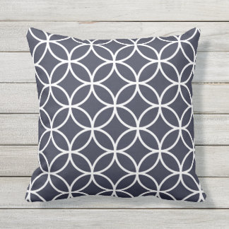 Navy Blue Outdoor Pillows - Circle Trellis