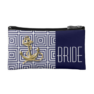 Navy Blue pattern anchor nautical bride Makeup Bags