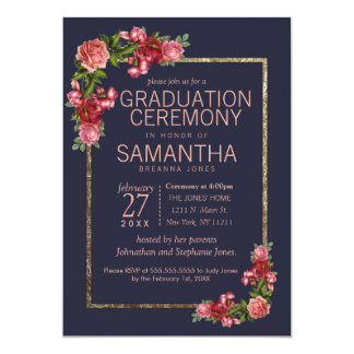 Navy Blue Pink Floral Gold Graduation Ceremony Card