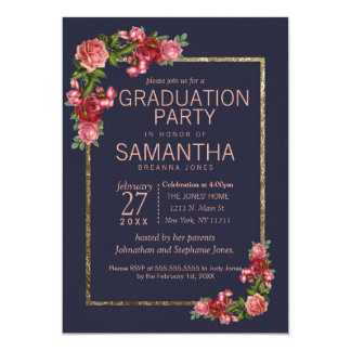 Navy Blue Pink Floral Gold Graduation Party Card