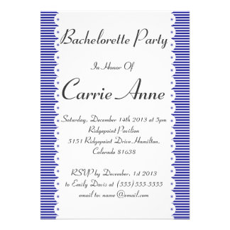 Navy Blue Pinstripes Bachelorette Party Invitation