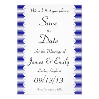 Navy Blue Pinstripes Save The Date Notice Invitations