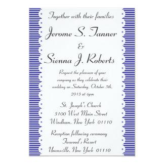 Navy Blue Pinstripes Wedding Invitaiton 13 Cm X 18 Cm Invitation Card