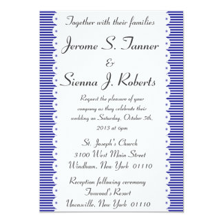 Navy Blue Pinstripes Wedding Invitaiton Card