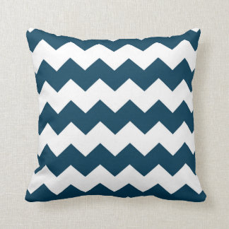 Navy Blue / Prussian Blue Chevron Pattern Throw Pillow