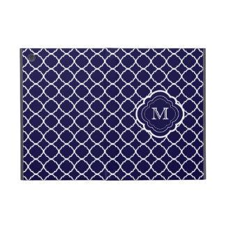 Navy Blue Quatrefoil with Monogram Cover For iPad Mini
